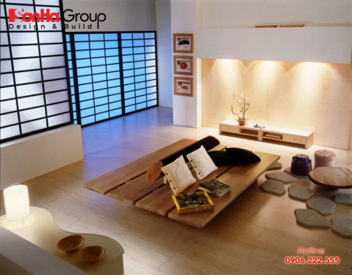 Phong cách nội thất Nhật nhấn mạnh đến sự tối giản, tiện ích, hài hòa với thiên nhiên