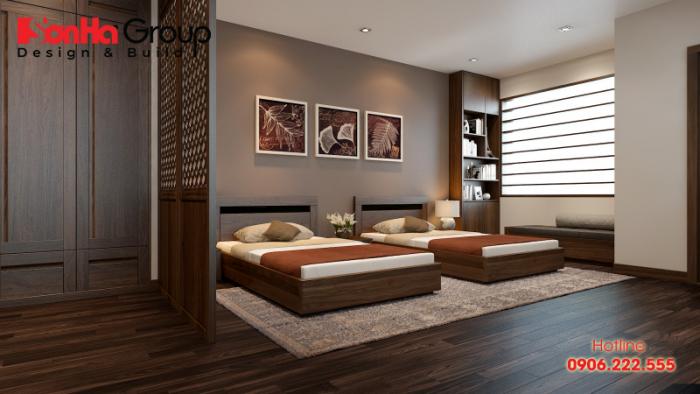 Phương án thiết kế phòng ngủ màu nâu đất cho mệnh Kim thuộc nạp âm nêu trên