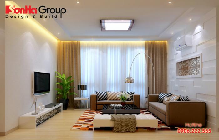 Thiết kế phòng khách chung cư đẹp với gam màu trầm ấm tinh tế nhẹ nhàng