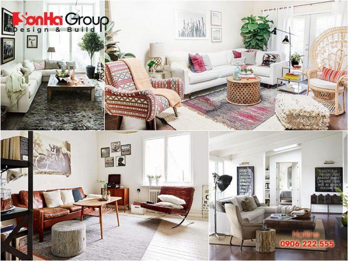 Các góc cho thấy nét đẹp của phòng khách trang trí kiểu Vintage