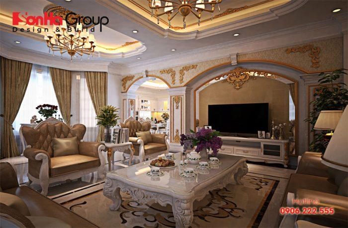 Đây cũng là mẫu trang trí nội thất phòng khách vô cùng bắt mắt