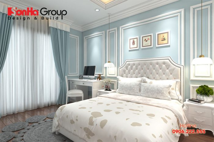 Gam màu nhẹ nhàng tinh tế tăng thêm sự lãng mạn cho phòng ngủ