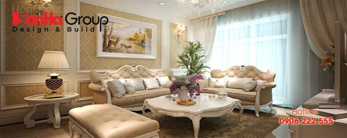 Mãn nhãn với không gian phòng khách phong cách nội thất tân cổ điển