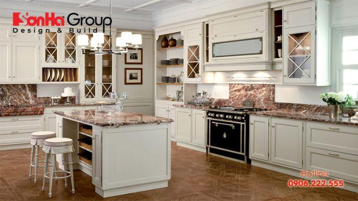 Mẫu phòng ăn tân cổ điển đẹp mắt với gam màu trắng phong cách tân cổ điển
