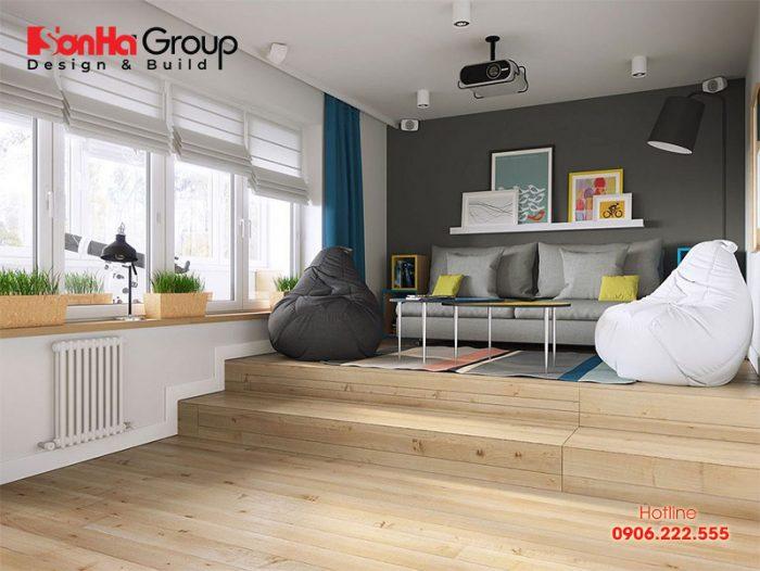 Một góc trang trí của căn hộ nhỏ xinh với sàn gỗ màu sắc sáng