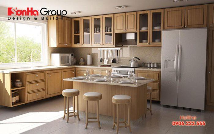 Phòng bếp chung cư đẹp được tạo nên bởi ánh sáng tự nhiên hài hòa