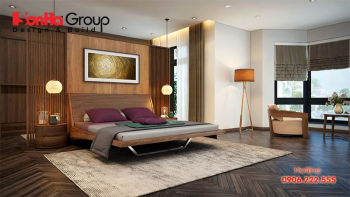 Phòng ngủ phong cách hiện đại cũng được nhiều cặp vợ chồng lựa chọn