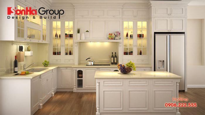 Thêm mẫu tủ bếp tân cổ điển làm không gian bếp ăn thêm sang trọng