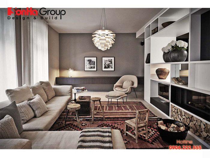 Thiết kế nội thất phòng khách phong cách Vintage sang trọng đẹp mắt