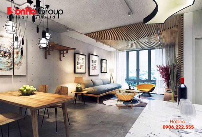 Thiết kế phòng khách căn hộ chung cư phong cách Vintage sang trọng