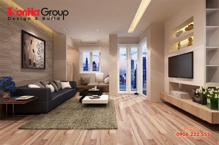 Thiết kế phòng khách đẹp với sàn gỗ cao cấp khiến không gian ấm áp