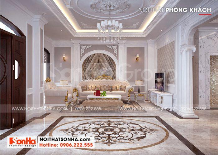 Thiết kế nội thất phòng khách tân cổ điển biệt thự song lập Vinhomes Imperia