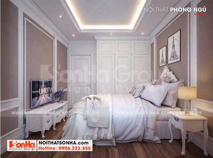 Mẫu thiết kế nội thất phòng ngủ giúp việc của biệt thự song lập Vinhomes Imperia