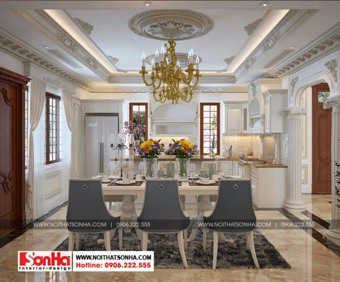 Trang trí nội thất phòng bếp ăn biệt thự tân cổ điển đẹp tại tphcm