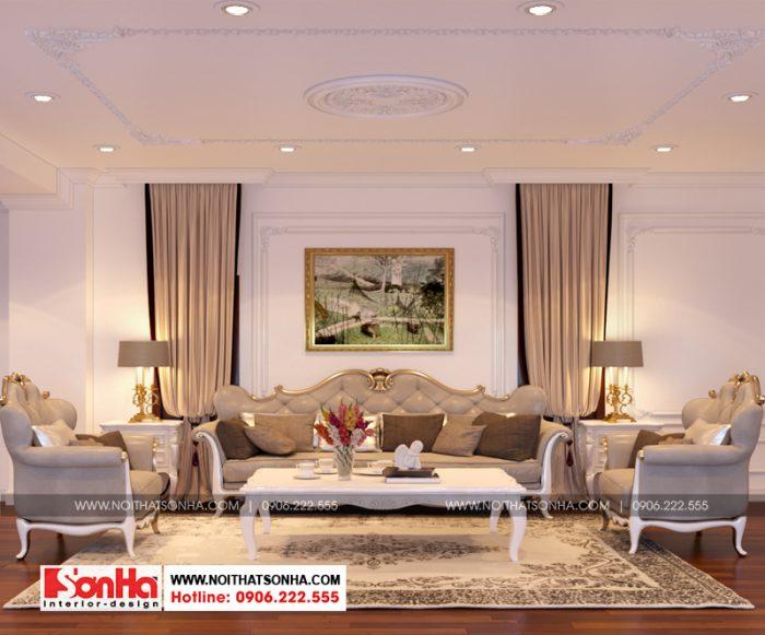 Thiết kế nội thất phòng sinh hoạt chung tầng lửng biệt thự tân cổ điển 3 tầng
