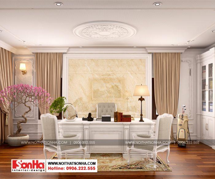 Thiết kế nội thất phòng làm việc cho biệt thự tân cổ điển sang trọng