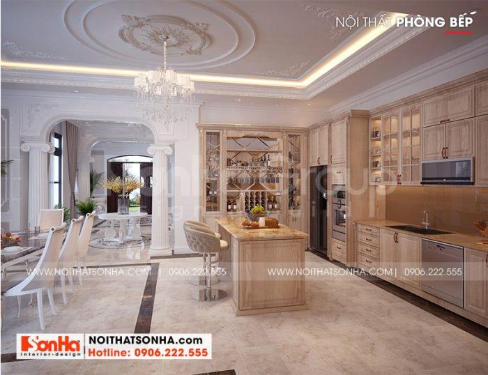 Thiết kế nội thất phòng bếp ăn biệt thự 3 tầng tân cổ điển Vinhomes Imperia