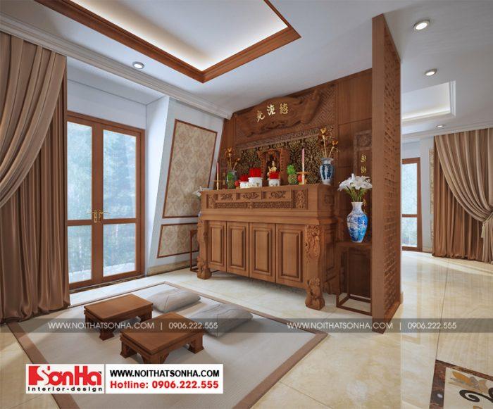 Còn đây là phương án thiết kế nội thất phòng thờ với gỗ tự nhiên