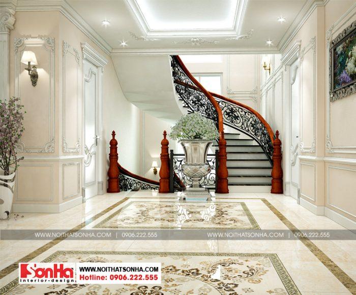 Thiết kế nội thất sảnh thang đẹp với gạch ốp lát cao cấp và gỗ tự nhiên