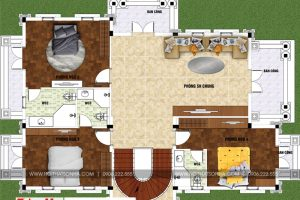 5 Mặt bằng lầu 1 biệt thự tân cổ điển 2 mặt tiền tại sài gòn sh btp 0130