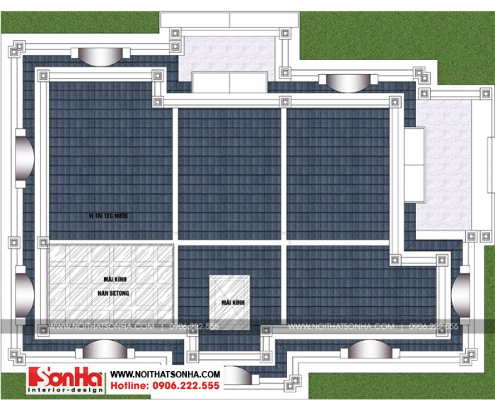 Mặt bằng tầng mái ngôi biệt thự tân cổ điển có không gian nội thất tiện nghi