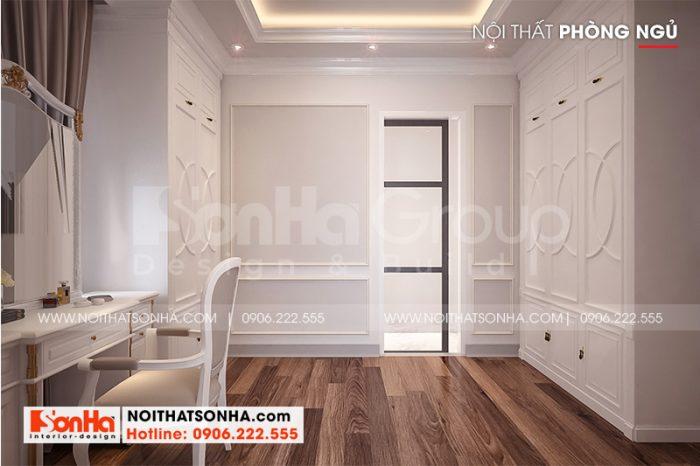 Trong phòng ngủ master còn bố trí khu thay đồ với cách trang trí nội thất đẹp