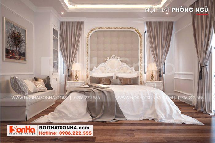 Không gian phòng ngủ đẹp với màu sắc tinh tế sang trọng kiểu tân cổ điển