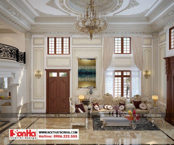 Phương án thiết kế nội thất phòng khách tân cổ điển của biệt thự 3 tầng