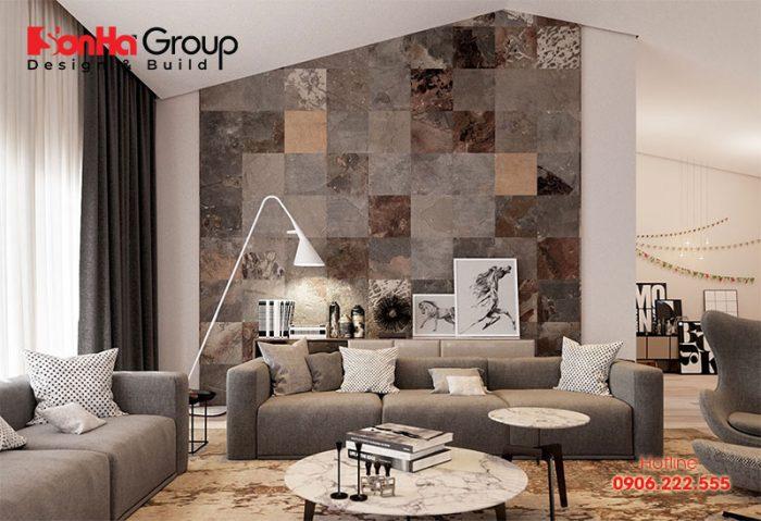 Gạch ốp tường là vật liệu ngày càng phổ biến trong trang trí nội thất phòng khách