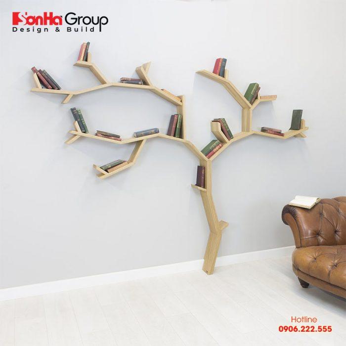 Kệ sách hình cành cây đang rất được chuộng trong trang trí phòng ngủ