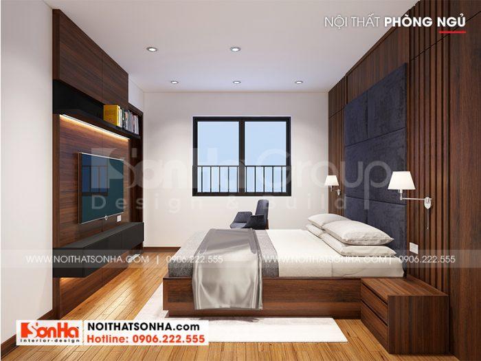 Phòng ngủ bố trí ánh sáng thông thoáng, cách bày trí nội thất sát tường, tiết kiệm không gian sử dụng vô cùng ưu việt