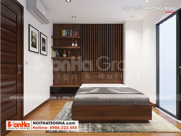 Căn phòng ngủ trang trí giản dị hơn nhưng vẫn rất ấn tượng