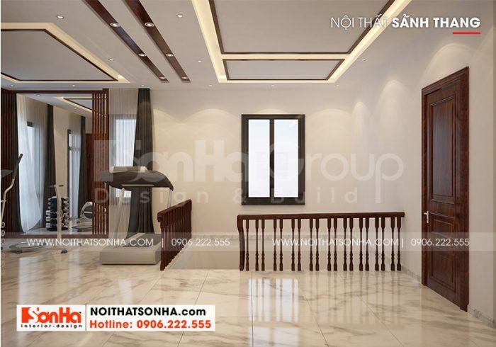 Thiết kế nội thất sảnh thang biệt thự rộng, thoáng theo đúng nguyện vọng mà chủ đầu tư đặt ra