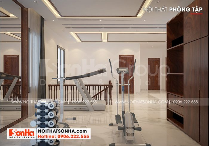 Bố trí nội thất phòng tập hiện đại tại tầng 3 ngôi biệt thự mái thái tại quận Kiến An – Hải Phòng