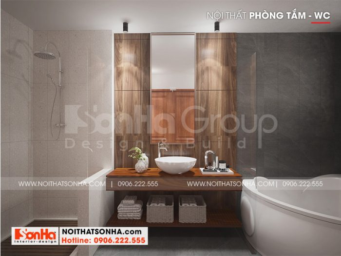 Mẫu nội thất phòng tắm hiện đại, đầy đủ tiện nghi cho biệt thự 3 tầng tại Hải Phòng