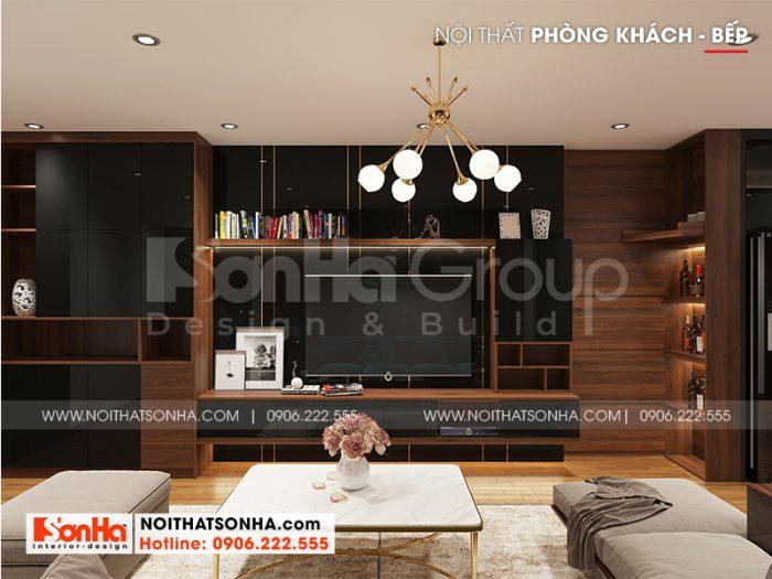 Vật kiệu gỗ cao cấp có độ bền cao được ưu tiên sử dụng để trang trí nội thất phòng khách căn hộ