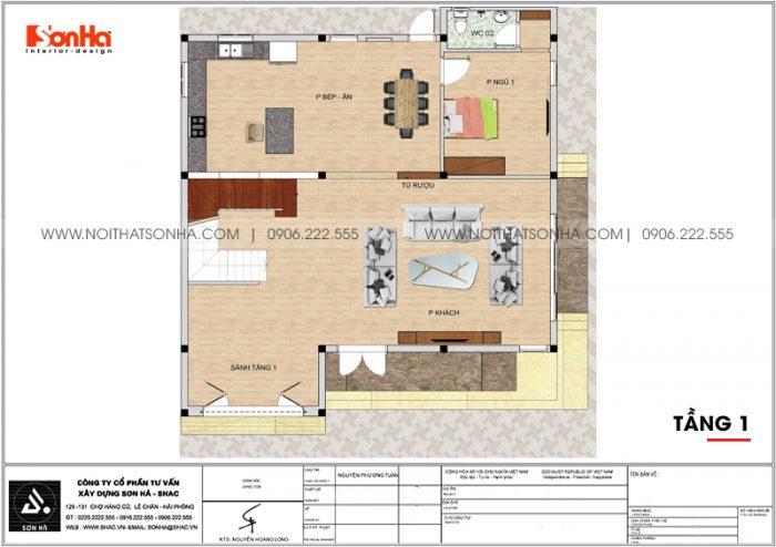 Bản vẽ công năng tầng 1 biệt thự hiện đại mặt tiền 12,3m dài 12,5m tại Hải Phòng