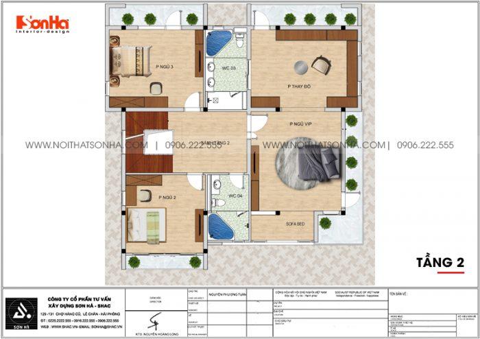 Bản vẽ công năng tầng 2 biệt thự hiện đại mặt tiền 12,3m dài 12,5m tại Hải Phòng