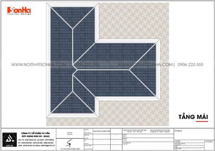 Bản vẽ công năng tầng mái biệt thự hiện đại mặt tiền 12,3m dài 12,5m tại Hải Phòng