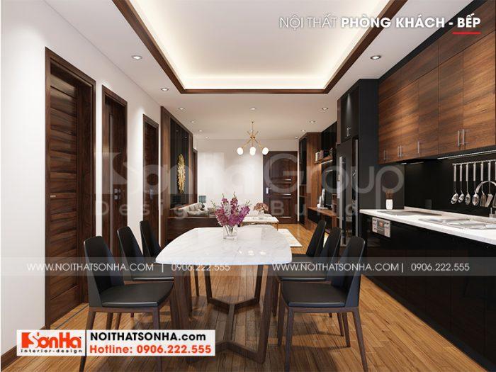 Thiết kế phòng bếp ăn căn hộ với nội thất phong cách hiện đại theo đúng yêu cầu của gia chủ