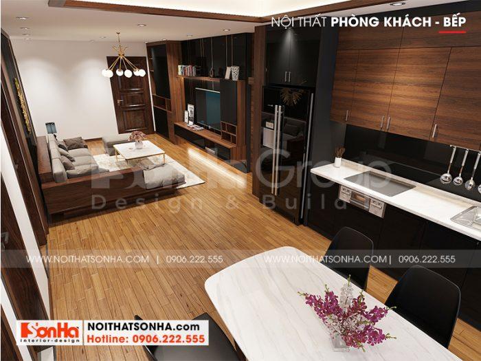 Phương án thiết kế nội thất phòng khách liền bếp hiện đại của căn hộ chung cư tại