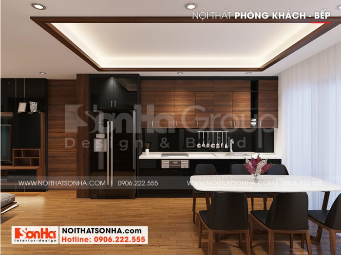 Nội thất phòng bếp và phòng ăn mang phong cách hiện đại đẹp, hoàn mỹ hợp phong thủy khiến chủ nhân hài lòng cao