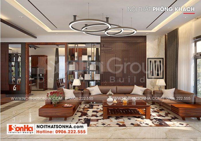 Toàn cảnh không gian nội thất phòng khách mang hơi hướng hiện đại đẹp và sang trọng được chủ đầu tư Ước tán thành cao