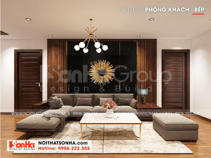 Không gian nội thất phòng khách căn hộ hiện đại đẹp, nhẹ nhàng với sắc nâu trầm ấm chủ đạo ai cũng muốn sở hữu