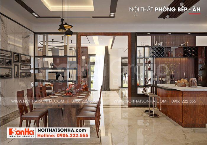Thiết kế kế phòng bếp hiện đại với nội thất gỗ tự nhiên cao cấp mang đến không gian bếp khang trang và sang trọng