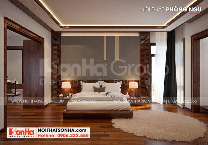 Căn phòng ngủ hiện đại đẹp và khoa học với kiểu dáng đơn giản, trang nhã dành cho nhà biệt thự tại Hải Phòng
