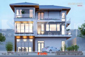 BÌA thiết kế biệt thự hiện đại mái thái 3 tầng tại hải phòng sh btd 0075