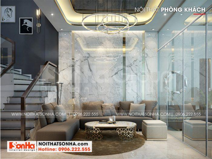 Thiết kế nội thất phòng khách đẹp, hiện đại và trang trọng với tone nhẹ nhàng, hợp thời