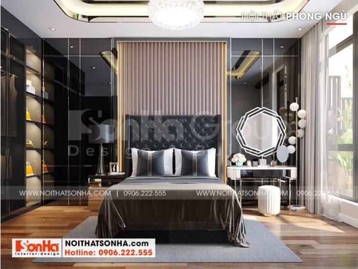 Mẫu phòng ngủ hiện đại trẻ trung có thiết kế nội thất cao cấp dành cho vợ chồng gia chủ