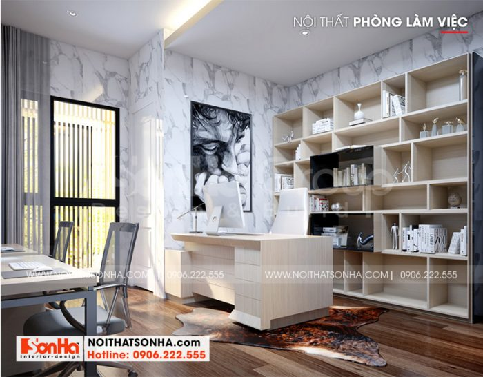 Mẫu nội thất phòng làm việc với thiết kế hiện đại, bố trí ngăn nắp theo đúng nguyện vọng chủ đầu tư đặt ra